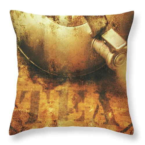 Old Throw Pillow featuring the photograph Antique Old Tea Metal Sign. Rusted Drinks Artwork by Jorgo Photography - Wall Art Gallery