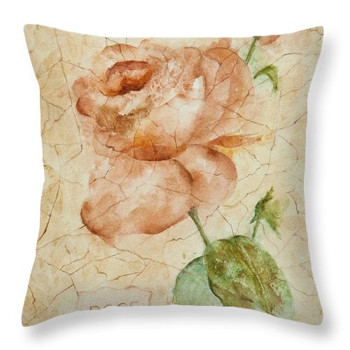 Rose Throw Pillow featuring the painting Antique Rose by Debbie Lewis