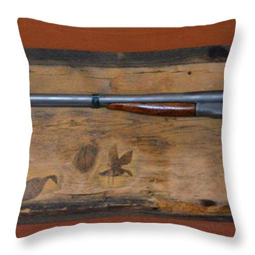 Weapon Throw Pillow featuring the photograph Antique Shotgun by Richard Jenkins