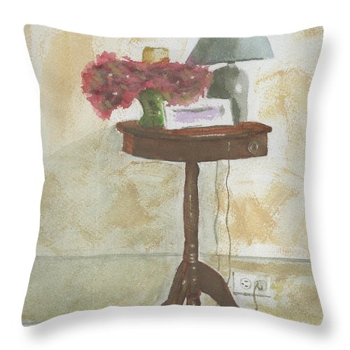 Table Throw Pillow featuring the painting Antique Table by Ken Powers