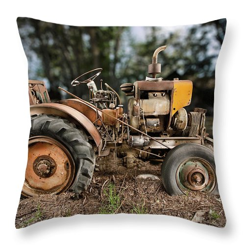 Antique Throw Pillow featuring the photograph Antique Tractor by Yo Pedro
