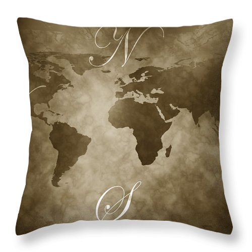 Compass Throw Pillow featuring the digital art Antique World Map by Phill Petrovic