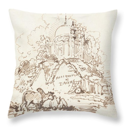 Throw Pillow featuring the drawing Antiquities Of Dacca by George Chinnery