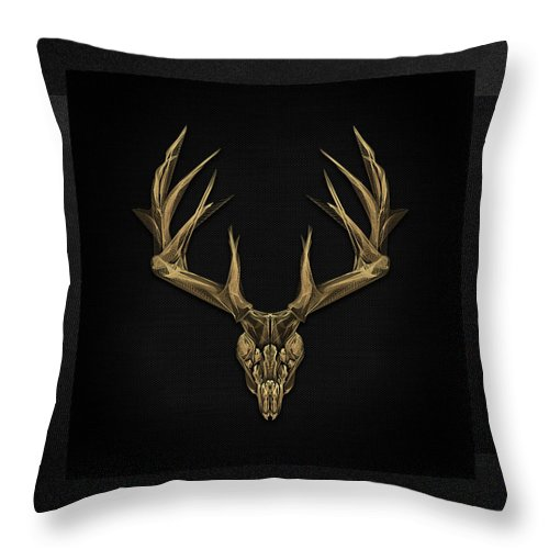 """""""antlered Skulls"""" Collection By Serge Averbukh Throw Pillow featuring the digital art Antlered Skulls - Gold Deer Skull X-ray Over Black Canvas No.1 by Serge Averbukh"""