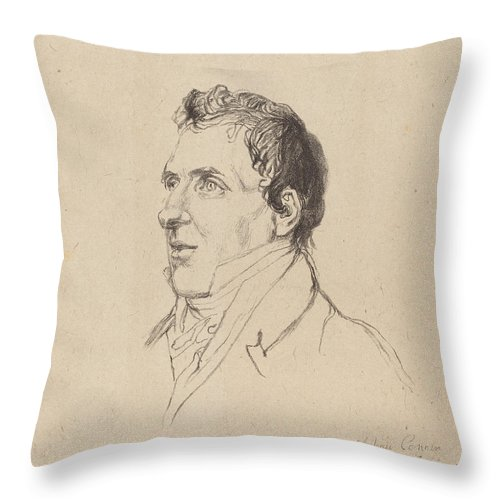 Throw Pillow featuring the drawing Antonio Canova by After John Flaxman