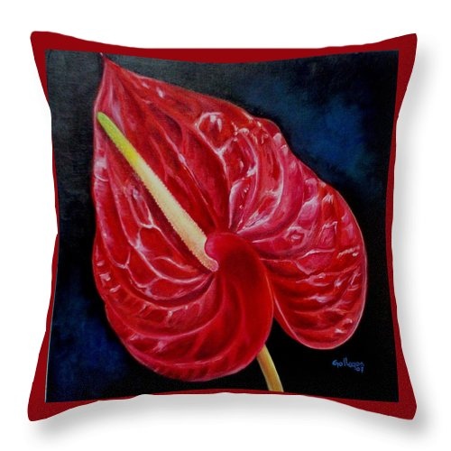 Flowers Throw Pillow featuring the painting Anturio by Elsa Gallegos