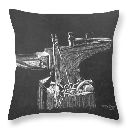 Anvil Throw Pillow featuring the painting Anvil by Richard Le Page