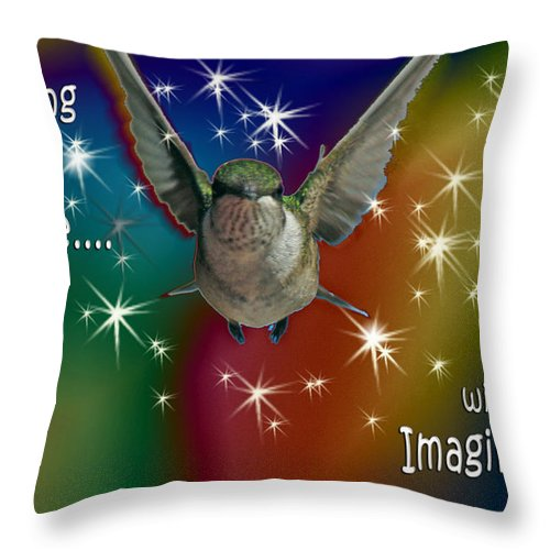 Motivational Throw Pillow featuring the digital art Anything Is Possible With Imagination Rainbow by Cathy Beharriell