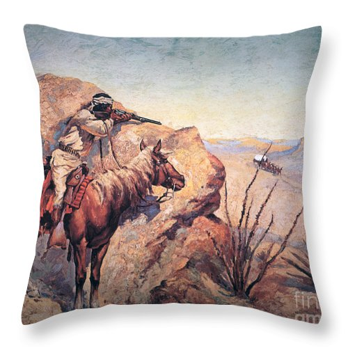 Apache Ambush (oil On Canvas) By Frederic Remington (1861-1909) Remington Throw Pillow featuring the painting Apache Ambush by Frederic Remington