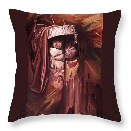 Native American Throw Pillow featuring the painting Apache Girl And Papoose by Nancy Griswold