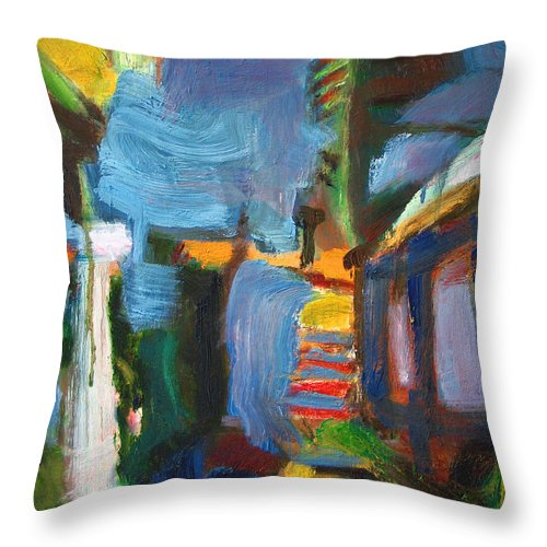 Dornberg Throw Pillow featuring the painting Apartment Abstract by Bob Dornberg