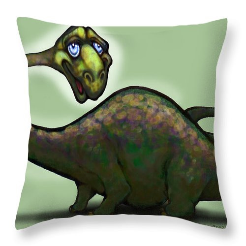 Apatosaurus Throw Pillow featuring the greeting card Apatosaurus Brontosaurus by Kevin Middleton