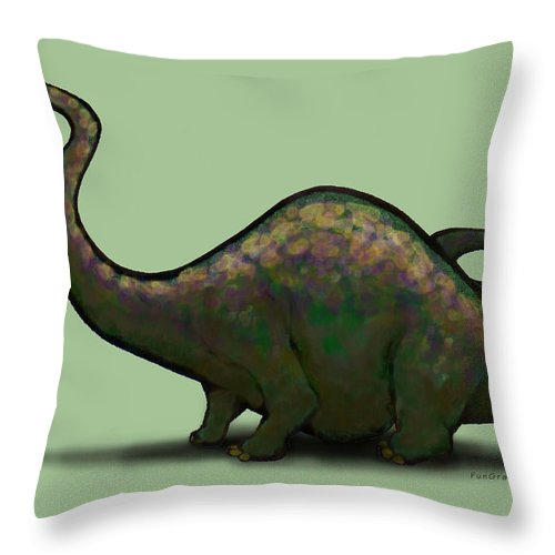 Apatosaurus Throw Pillow featuring the greeting card Apatosaurus by Kevin Middleton