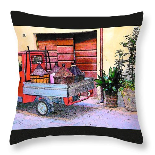 Ape Throw Pillow featuring the photograph Ape Truck In Tuscany by Jan Matson