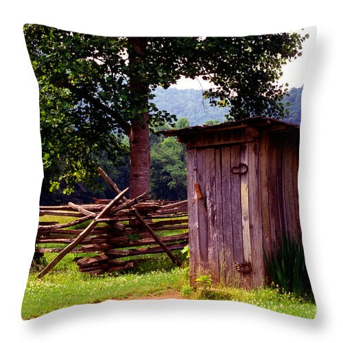 Outhouse Throw Pillow featuring the photograph Appalachian Hill-ton by Paul W Faust - Impressions of Light