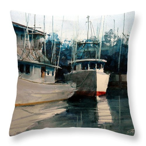 Apalachicola Throw Pillow featuring the painting Apalachicola Docks by Charles Rowland