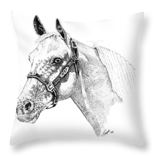 Horse Throw Pillow featuring the drawing Appaloosa by Lawrence Tripoli