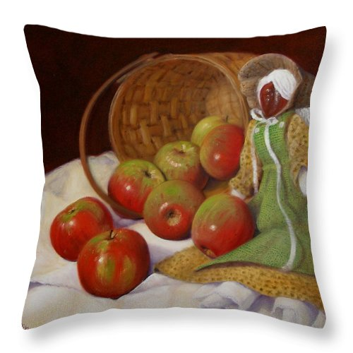 Realism Throw Pillow featuring the painting Apple Annie by Donelli DiMaria
