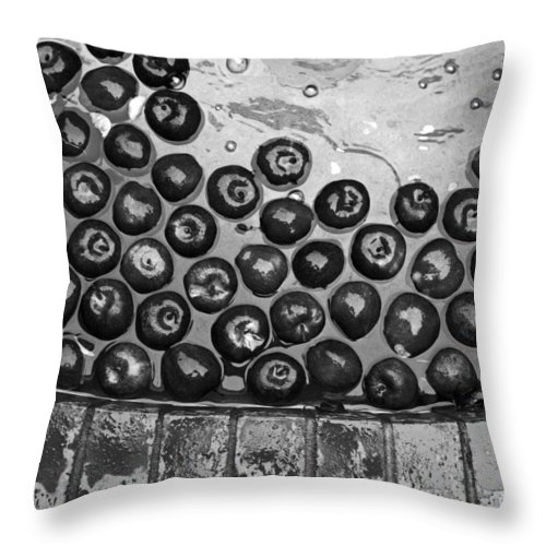 Apples Throw Pillow featuring the photograph Apple Art Black And White by Kami McKeon