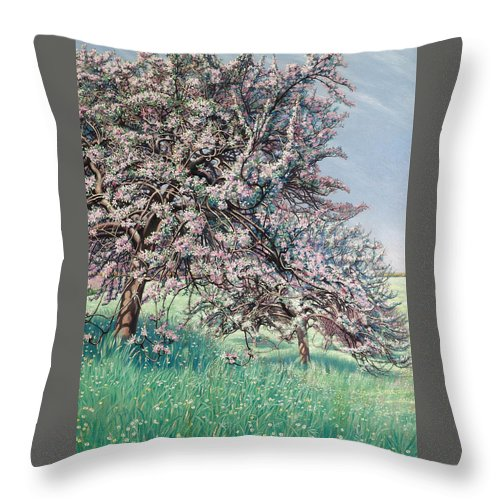 Carlos Schwabe Throw Pillow featuring the painting Apple Blossom by Carlos Schwabe