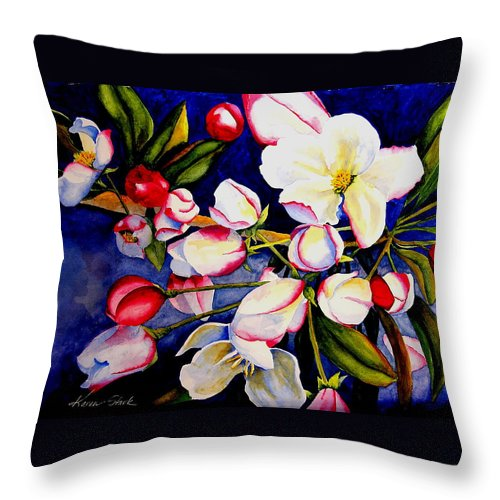 Apple Blossoms Throw Pillow featuring the painting Apple Blossom Time by Karen Stark