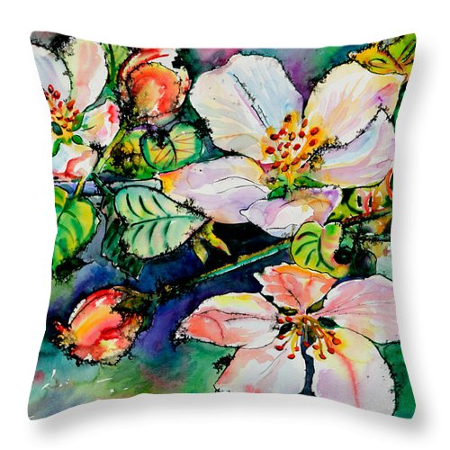 Flora Throw Pillow featuring the painting Apple Blossom by Yelena Tylkina