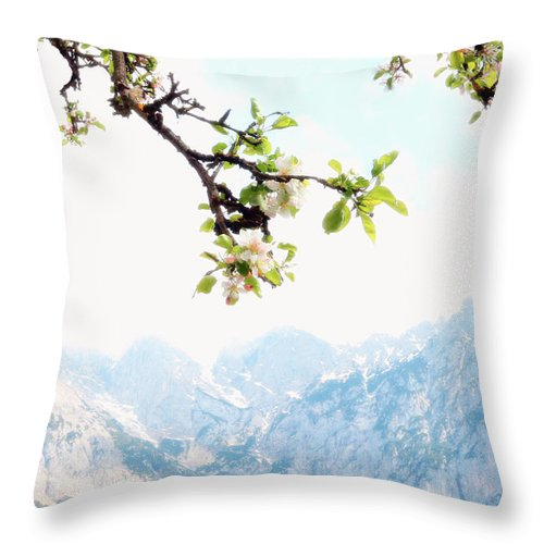Mountains Landscape Throw Pillow featuring the photograph Apple Blossoms And Mountains by Brooke T Ryan