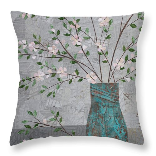 Art Collage Throw Pillow featuring the mixed media Apple Blossoms In Turquoise Vase by Janyce Boynton