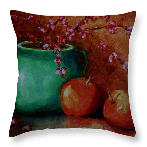 Apple Throw Pillow featuring the painting Apple Blossoms by Linda Hiller