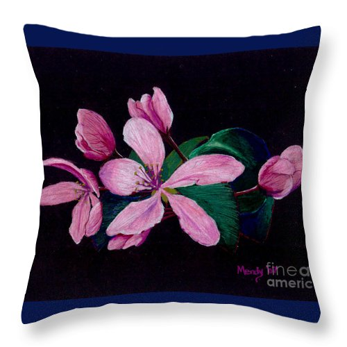 Apple Throw Pillow featuring the pastel Apple Blossoms by Mendy Pedersen