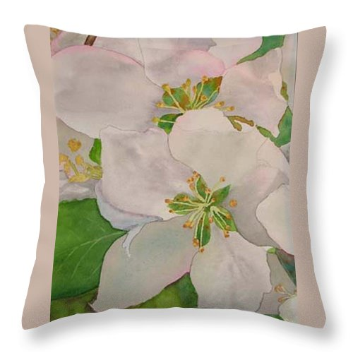 Apple Blossoms Throw Pillow featuring the painting Apple Blossoms by Sharon E Allen
