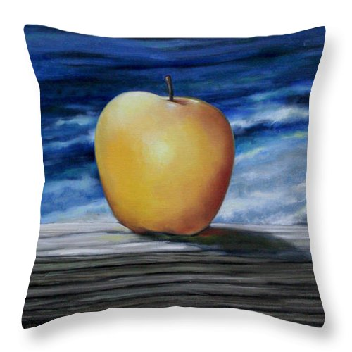 Yellow Throw Pillow featuring the painting Apple By The Sea by Meridith Martens