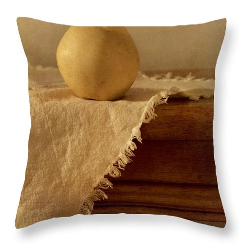 Dining Room Throw Pillow featuring the photograph Apple Pear On A Table by Priska Wettstein