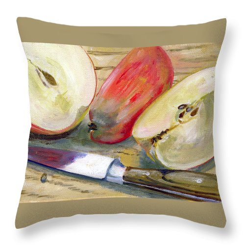 Still-life Throw Pillow featuring the painting Apple by Sarah Lynch