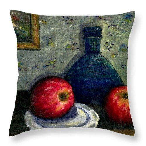Still Life Throw Pillow featuring the painting Apples And Bottles by Gail Kirtz
