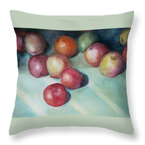Orange Throw Pillow featuring the painting Apples and Orange by Jun Jamosmos