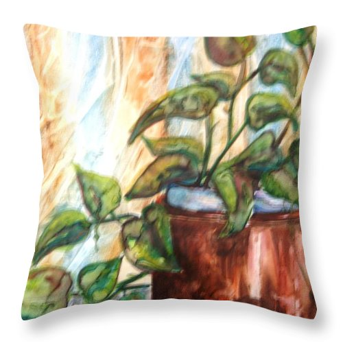 Plant Throw Pillow featuring the painting Apples And Plant by Melissa Wiater Chaney