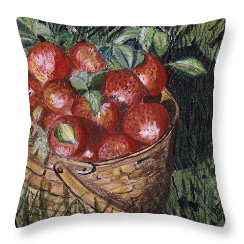 Apples Throw Pillow featuring the painting Apples by Arlene Wright-Correll