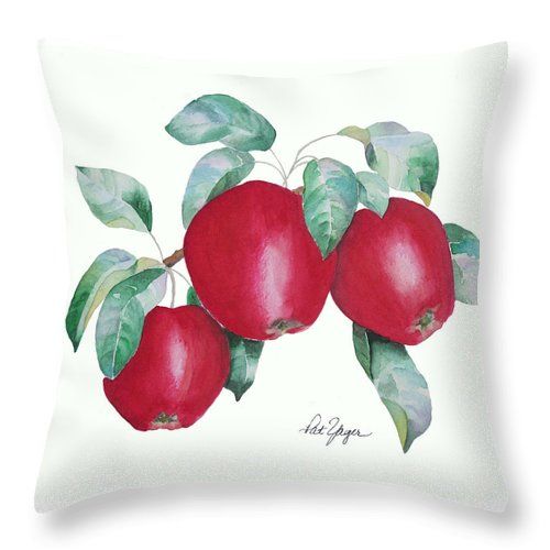 Apples Throw Pillow featuring the painting Apples In Autumn by Pat Yager