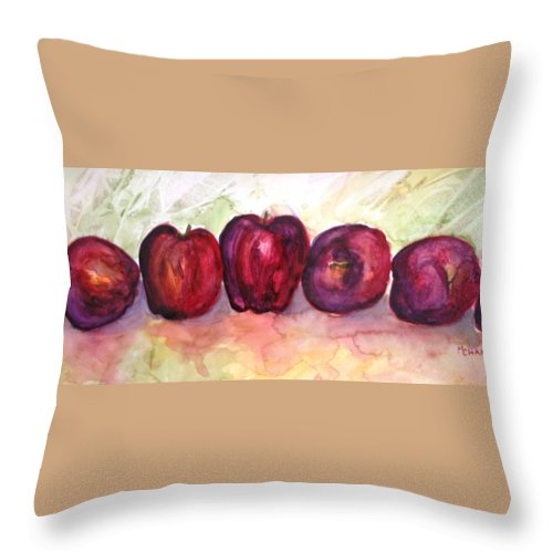 Apples Throw Pillow featuring the painting Apples by Melissa Wiater Chaney