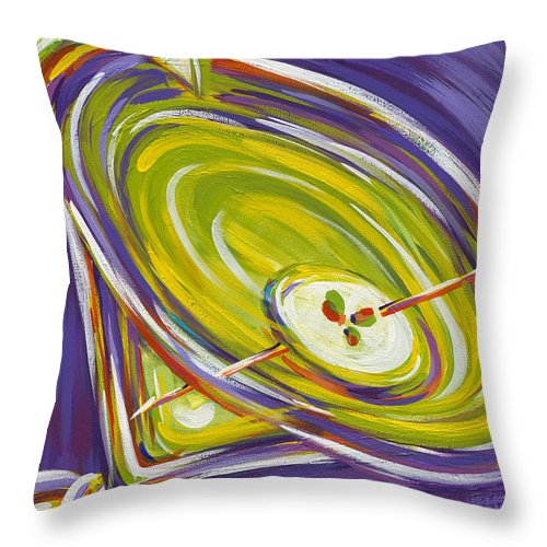 Appletini Throw Pillow featuring the painting Appletini by Nanette Vacher