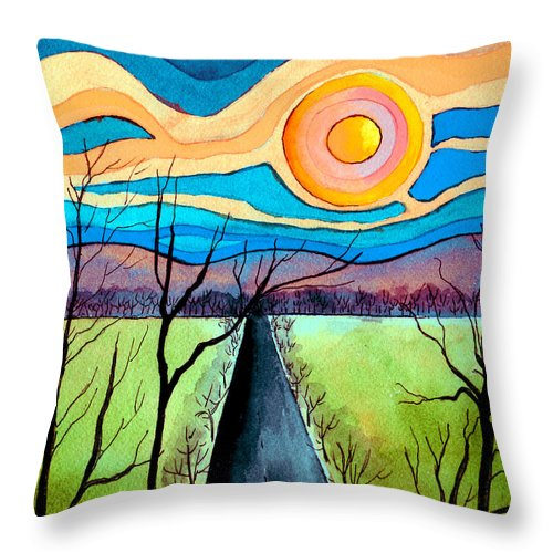 Landscape Throw Pillow featuring the painting Approaching Lossarnach by Brenda Owen