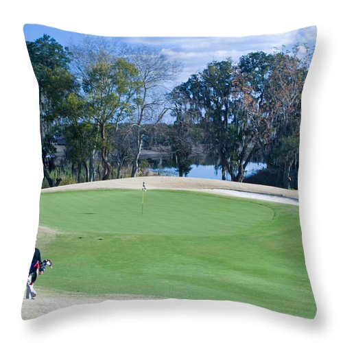 Golf Throw Pillow featuring the photograph Approaching The 18th Green by Thomas Marchessault