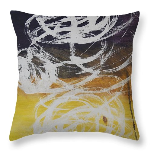 Learning Throw Pillow featuring the painting Aprendiendo by Lauren Luna