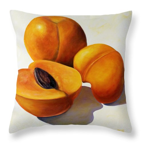 Apricots Throw Pillow featuring the painting Apricots by Shannon Grissom