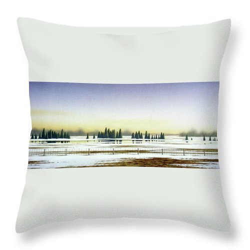 Rural Landscape Throw Pillow featuring the painting April Evening by Conrad Mieschke