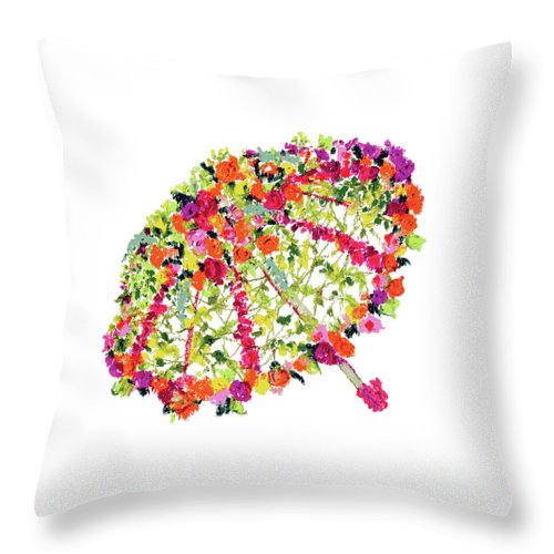 April Showers Throw Pillow featuring the pastel April Showers Bring May Flowers by Lauren Heller