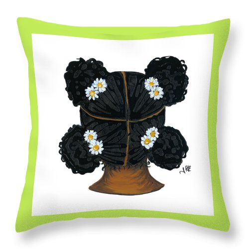 Naturally Me Kidz Throw Pillow featuring the painting Daisy by Sonja Griffin Evans