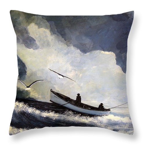 Seascape Throw Pillow featuring the painting Aproaching Storm by Leonardo Ruggieri