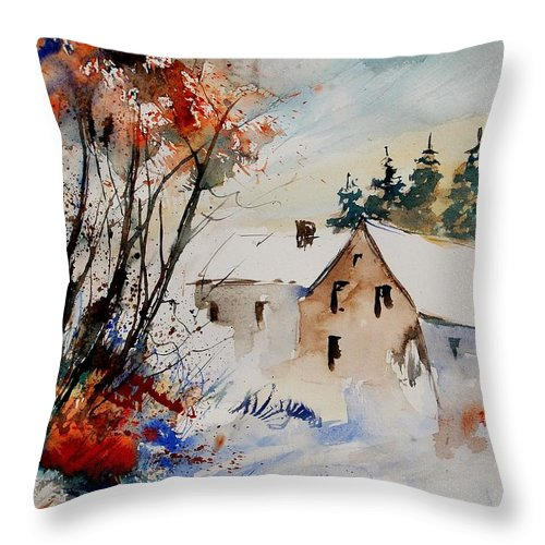 Winter Throw Pillow featuring the painting Aqua 905070 by Pol Ledent